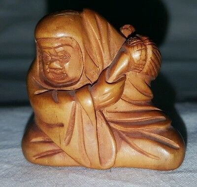 Excellent  Carved Wooden Signed Netsuke Of Man With Rat