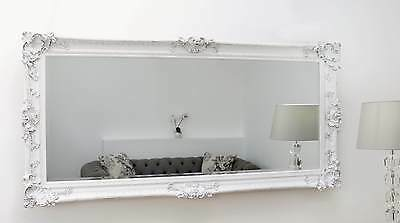 "Hampshire White Ornate Rectangle Antique Wall Mirror 66"" x 32"" V Large"