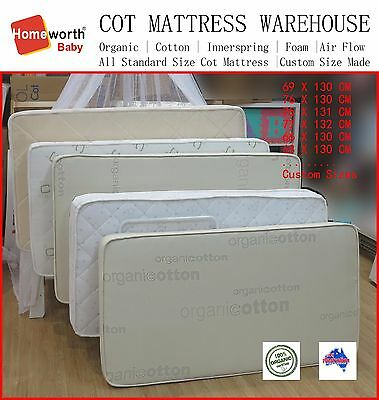 Baby COT MATTRESS Australia Made Organic Innerspring Cotton & Protector Deal S&M