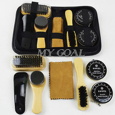 7In 1 Neutral Polish Shoe Boot Leather Shine Cleaning Brushes Set Kit Tool +Case