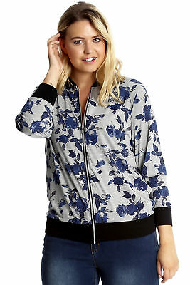 New Womens Plus Size Jacket Bomber Ladies Varsity Style Floral Print Nouvelle