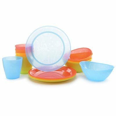 Dinnerware Kids Dishes Munchkin Feeding Set Plastic Cup Plate Bowl 15 Piece Set