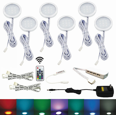 AIBOO Aluminium RGB 12V LED Under Cabinet Lighting 6X2W Dimmable with RF Control