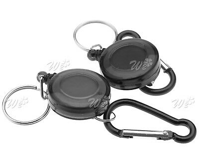 2x Retractable Carabiner Recoil Key Ring Pull Chain Badge ID Card Holder Clip