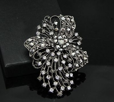 Beautiful Large Antique Silver Plated Crystal Bow Vintage Inspired Brooch
