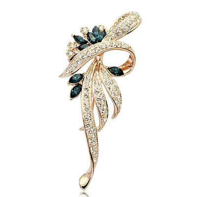 Beautiful Gold Plated Blue Clear Crystal Fashion Flower Statement Brooch