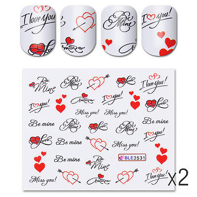 4 Sheets Nail Water Decals Love Words Red Heart Nail Art Transfer Stickers Decor