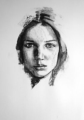 original charcoal drawing sketch study portrait face study woman A2