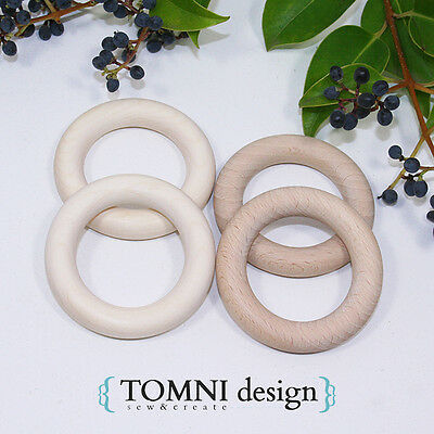 10x60mm Organic, natural BEECH wooden teething rings, AU/NZ standard certified