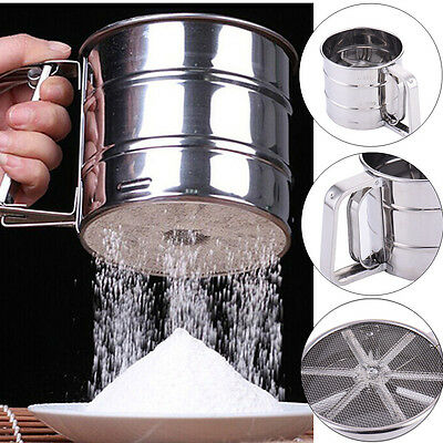 Stainless Steel Flour Sugar Icing Mesh Sifter Shaker Sieve Baking Kitchen Tools