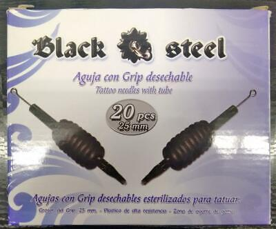 Tubo con Aguja para TATTOO Grip desechable Needle with tube-BLACK STEEL 20 unid