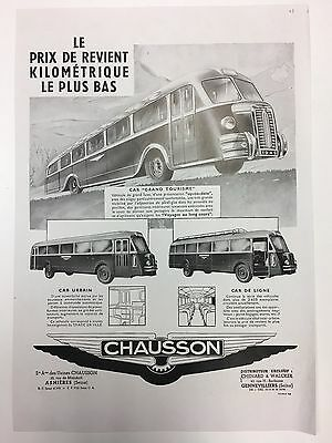 RARE 1948 CHAUSSON arge A3 Vintage French B&W Coach Advert + Alpha Romeo On Back