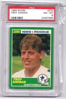 Troy Aikman ,(Rookie) 1989 Score,(Graded), PSA 8 NM-MT !!