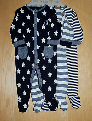 ♡ Next ♡ BNWT 3 pack Baby Boy Lovely STARS STRIPED Sleepsuit Babygrow 3-6 months