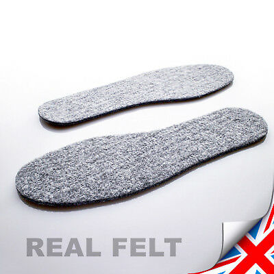 Pairs Real Felt Shoes Insoles Inner For Boots Shoes Mens Unisex - Uk Seller