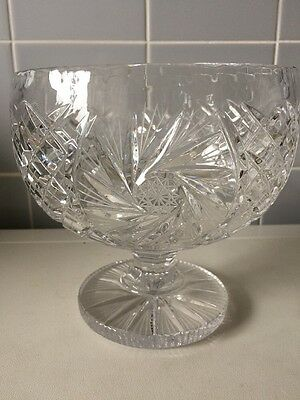 Vintage Heavy Lead Crystal Glass Fruit Trifle Dish / Bowl Stunning Ring