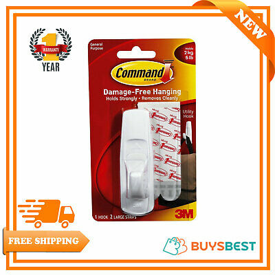 Command Large 17003 Hooks Decorating Clips Self Adhesive Strips Wall Hanging