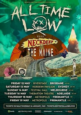 ALL TIME LOW -  2017  Australian Tour - Laminated Promotional Poster