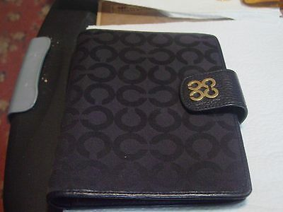Coach Black Signature Jaquard/Leather Planner with Pen