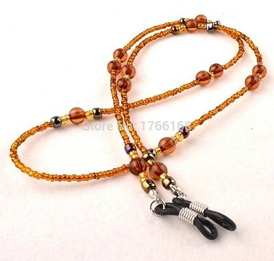 Brown Beaded Cord sunglasses reader glasses spectacle sport lanyard strap Chain