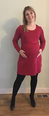 Fashionably Pregnant Red Winter Maternity Jumper Dress BN Size 8 10 12 14 16 18
