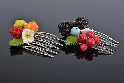 Handmade Flower Hair Comb 2 Pieces Polymer Clay Ideas Designer Hair Accessories