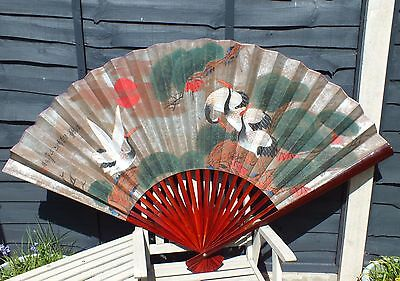 Huge Oriental Vintage ( Hand Painted ) Chinese Fan Decorative Wall Hanging