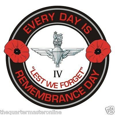 4th Btn Parachute Regiment Remembrance Day Inside Car Window Clear Cling Sticker