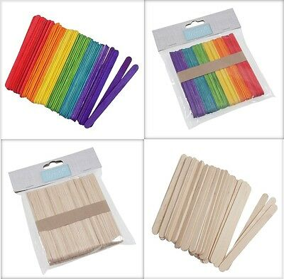 Trimits Wooden Lolly Lollipop Ice Art Flat Craft Stick Pack -Natural or Coloured