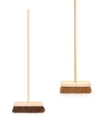 Soft Stiff Sweeping Yard Brush Outdoor Garden Cleaning Broom Wooden Handle