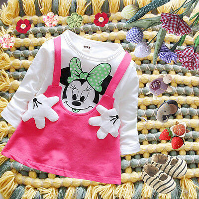 Toddler Baby Girls Minnie Mouse Party Dress Kids Long Sleeve Tops Shirt Clothes