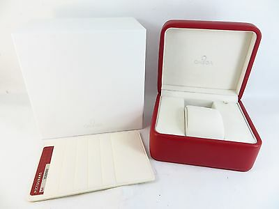 Omega Genuine Watch Red Silver Presentation Box Wallet & Certificate Card