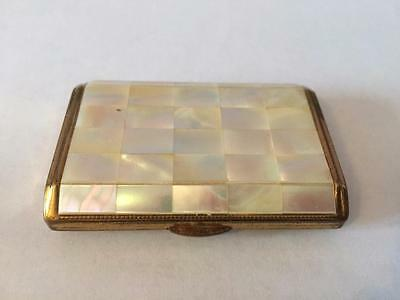 Lovely Vintage Mother Of Pearl & Brass Compact