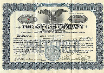 The Go-Gas Co. Preferred Stock Certificate 1923