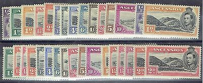 Ascension 1938/53 KGVI set of 32, includes all listed shades, very fine mint