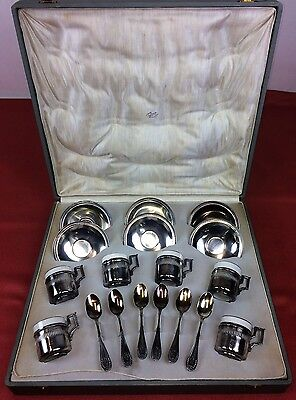 Set Of 6 Services For Coffee. Silver Of 916. Oriol Jewelry (?). Spain.circa 1900