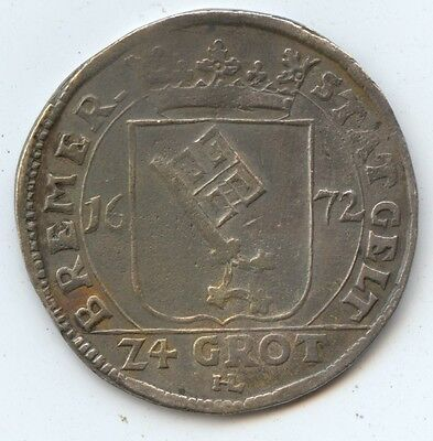 Germany Bremen (Free City) (#963) 1672 24G 1/3 Thaler Silver Leopold I XF. Caref