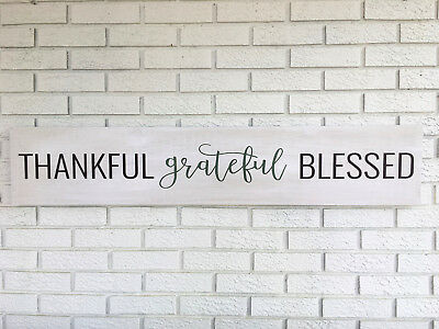 Rustic Wood Sign - Thankful Grateful Blessed - Farmhouse Decor - 4 Ft Long