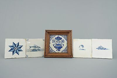 Five 17th century Blue and White Dutch Delft tiles