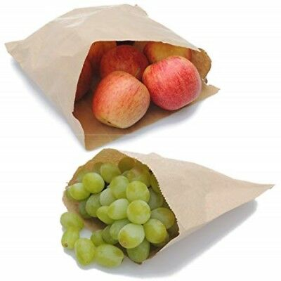 "200 x Brown Kraft Strung Paper Bags 7"" x 7"" Fruit Sweets Crafts Picnic Groceries"