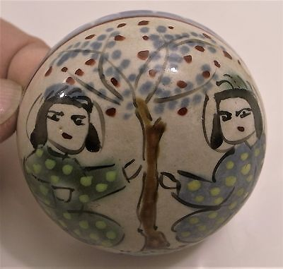 Kato Takuo (1918-2005) signed ceramic box in Persian Minai style, 2.25 inches d.
