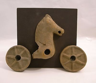 Ancient antique Greek pottery fragmentary chariot 4.5 in. circa 5th c. BC