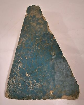 Antique Saljuk Islamic13th cent. torquoise blue tiangular shape tile 3x4 in