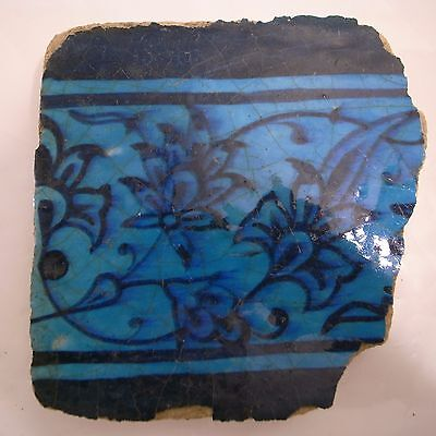 Antique Tukish Iznik tile 15th - 16th Century 5.5 x 5.5 in.