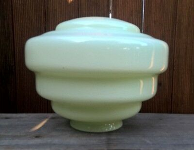 Antique 1930s Art Deco Green Beehive Ceiling Light Shade Vintage Pendant Lamp
