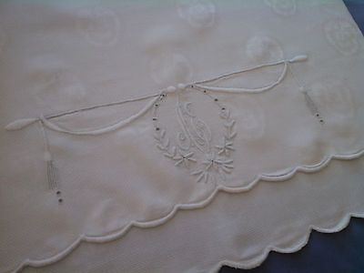 Vintage Large Antique Linen Monogrammed Towel w/ Pansies
