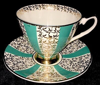 Vintage Elizabethan Bone China Tea Cup and Saucer Set Teal Panels & Gold Flowers
