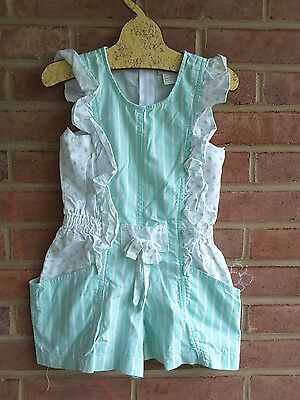 Vintage 80's girls summer romper / jumper mint green popsicle size 4 years