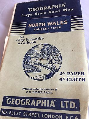 Vintage 1950's Geographia Large Scale Road Map - North Wales, Okay Condition