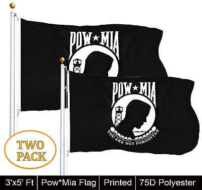 G128® TWO PACK POW-MIA Black Flag You are Not Forgotten Prisoner of War 3x5ft